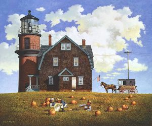 Charles Wysocki - Gay Head Light print of lighthouse on Martha's Vineyard with boys in field and pumpkins