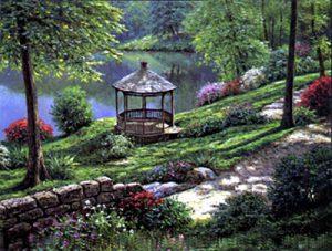 Henry Peeters - Gazebo in lush garden by lake