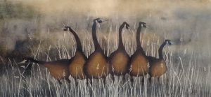 P Buckley Moss Watercolor  of Geese Keeping Watch on Rustic Field