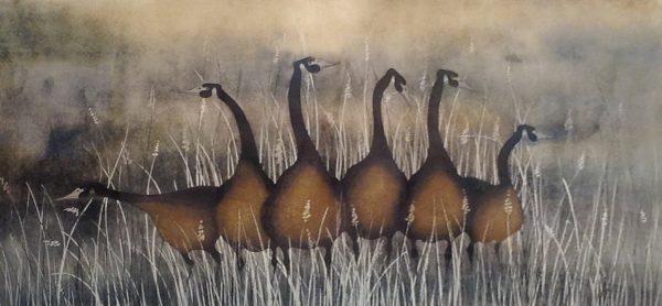 P Buckley Moss Watercolor  of Geese Keeping Watch on Rustic Field
