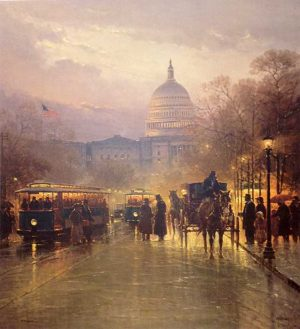 G. Harvey - A Genteel Nation print of capitol building in Washington DC with people and carriages and trolleys
