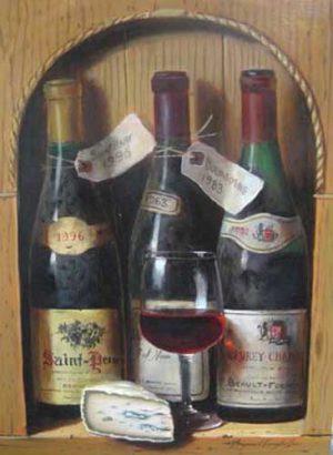 Raymond Campbell Gevrey Chambertin painting of wine bottles