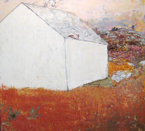 Brenda Cirioni Mixed Media Barn with Burnt Orange