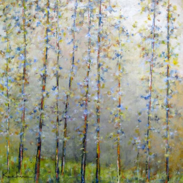 Jeff Koehn Contemporary Green Grass Forest with Aspen Trees
