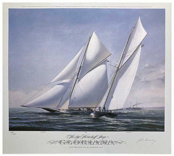 John Mecray - Gloriana (18x20) print of sailboat