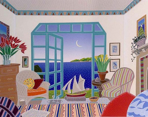 Thomas McKnight - Gloucester print of sitting room with model sailboat overlooking water