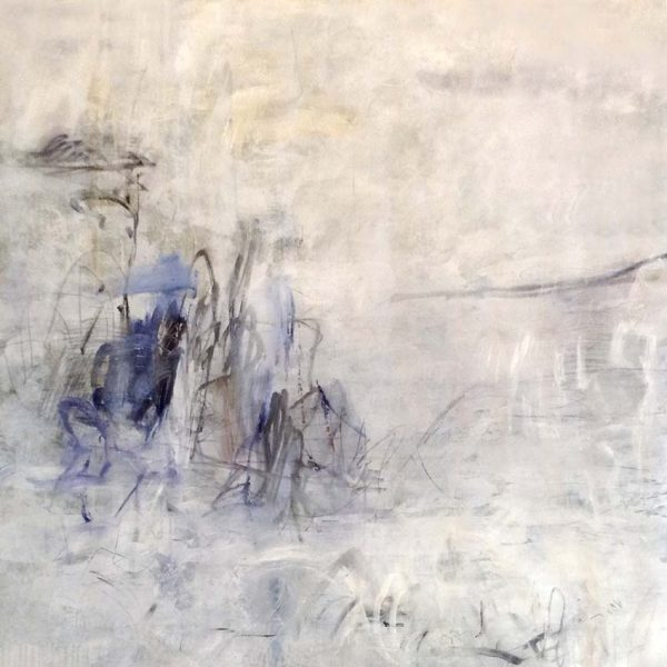 Jodi Maas Contemporary Abstract Oil on Canvas with Periwinkle Purple Blue White Beige