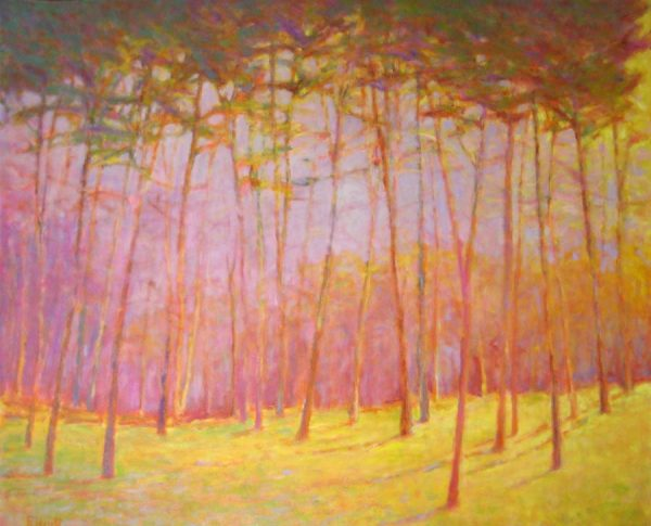Ken Elliot Contemporary Oil Painting of Aspen Trees at Sunset with Pink and Yellow