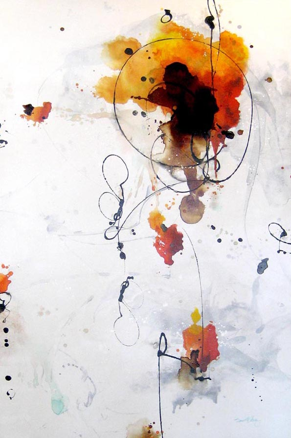 Contemporary Artist Dennis Smith Abstract in Gold