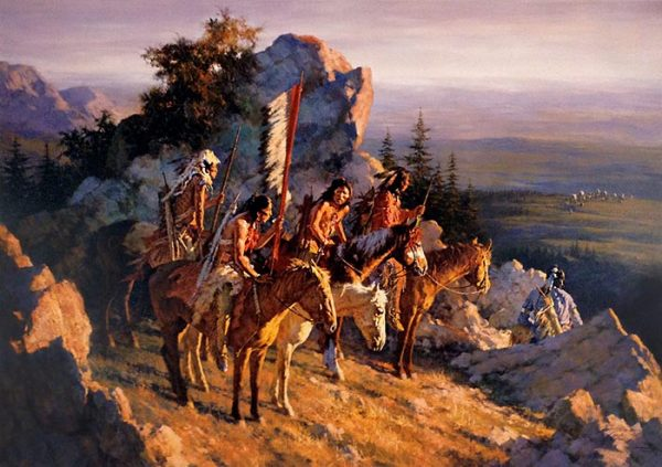 Howard Terpning - Gold Seekers to Black Hills print of native american men on horses in mountains