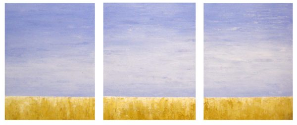 Leah Mitchell Oil Painting of yellow gold grass meadow with periwinkle blue skies with white clouds