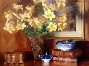 Mary Mabry Golden Splendor painting of yellow lilies in vase with bowl and sugar container