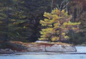 Lori Bate Pastel of Gold Tree on Water in Forest in Autumn or Fall with Leaves Turning