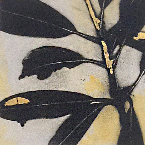 Jane E Cooper Contemporary Floral in Black and White with Gray Yellow Gold Shadow Contemporary