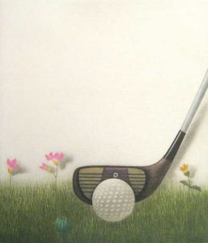 K.B. Hwang Mezzotint on Paper of Driver Golf Club in Flower Field