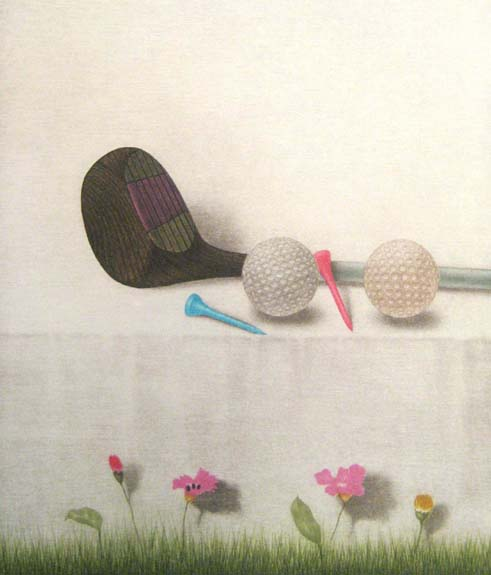 K.B. Hwang Mezzotint on Paper of Golf Club with Tees Golfballs and Flowers