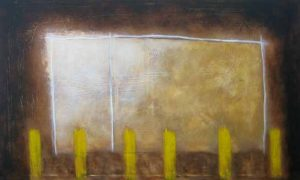 Abstract painting with bright rectangle and yellow pillars against a dark background