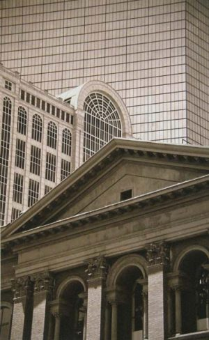 Vivian Avery - Granite and Glass sepia black & white Boston architecture photograph of public library and john hancock building