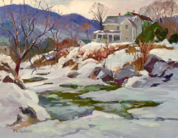 Peter Spataro Oil Painting on Canvas of Winter Snow Scene of Home in Mountains