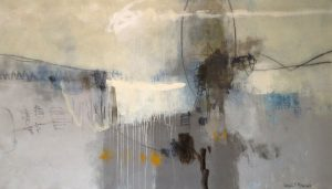 Ursula Brenner Contemporary Oil Painting of Gray Blue and White with Gold Ochre Splash