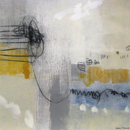 Ursula Brenner Contemporary Urban abstract Painting on Paper in Gold Blue Gray and White with Black Lines