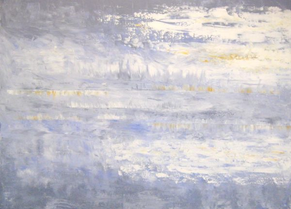 Leah Mitchell Oil Painting with Gray Clouds Over Ocean Seascape Horizon Abstract