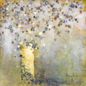 Jeff Koehn Contemporary Floral on Canvas with Whimsical Flowers in Vase