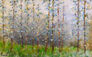 Jeff Koehn Oil Painting on Canvas of Forest of Aspen or Birch Trees in Blue and Green