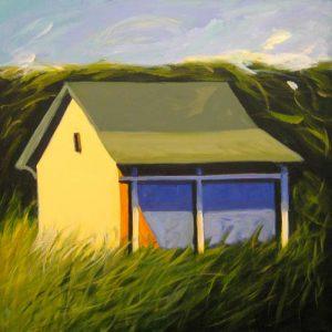 Karen Jones Painting of a Green Roof Barn with Green Grass