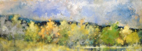 Jeff Koehn Horizontal Painting of Green Rolling Hills with Yellow and Blue Sky Mountains