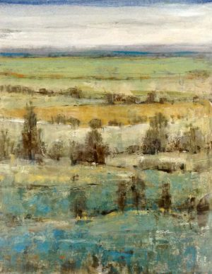 Timothy OToole Contemporary Oil Painting on Canvas of Rolling Hill Fields of Trees and Sky and Grass