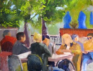 Pat Foster Oil Painting of Cafe Scene with Green Trees with Figures in Casual Conversations at Tables