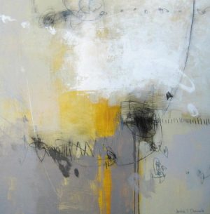 Ursula Brenner Contemporary Abstract Gray Yellow Mustard Gold White