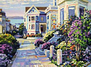 Howard Behrens - Grove Street print of seaside street with houses and flowers