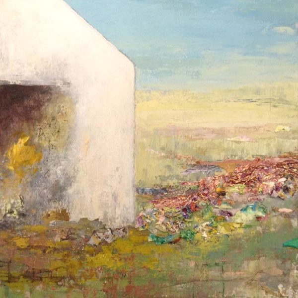 Brenda Cirioni Contemporary Farm Landscape of Barn with Fire Sky and Abstract Horizon