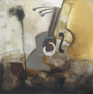 Abstract painting of a guitar