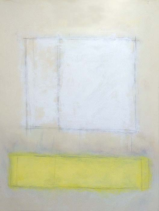 Anthony James Abstract Contemporary Painting with Yellow and White rectangles