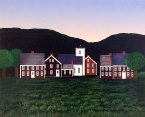Ted Jeremenko - Hamlet - Serigraph of houses in a field with trees