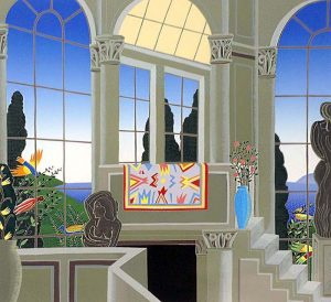 Thomas McKnight - Hanging Carpet print of room overlooking yard and ocean