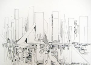 Gary Smith Pen and Ink on Paper of Abstract Stylized City Scape