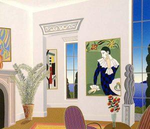 Thomas McKnight - Harlequin print of room with clown painting overlooking ocean