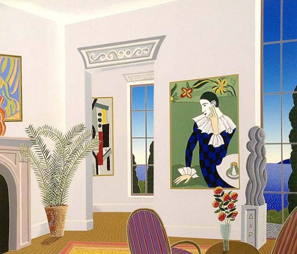 Thomas McKnight - Harlequin print of room with clown painting overlooking ocean