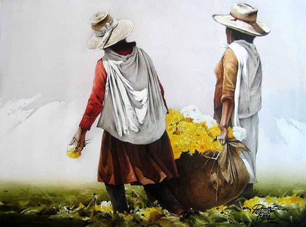 Luis Pantigozo - Heavy Harvest watercolor painting of two people carrying bag of flowers