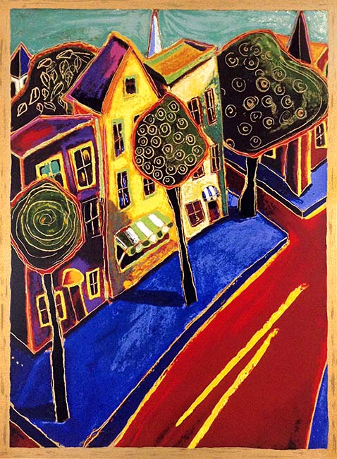 Alison Goodwin Serigraph of High Main Street in Home Town Houses Road