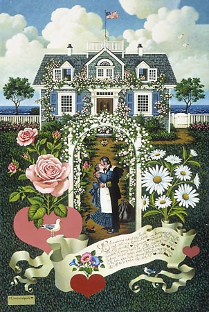 Charles Wysocki - Home is my Sailor print of couple kissing under trellis