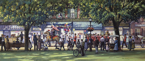 Paul Landry - Hometown Parade print of 4th of July with people lining the streets
