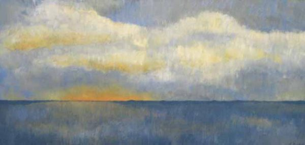 Leah Mitchell Seascape Oil on Board with Clouds and Sunset