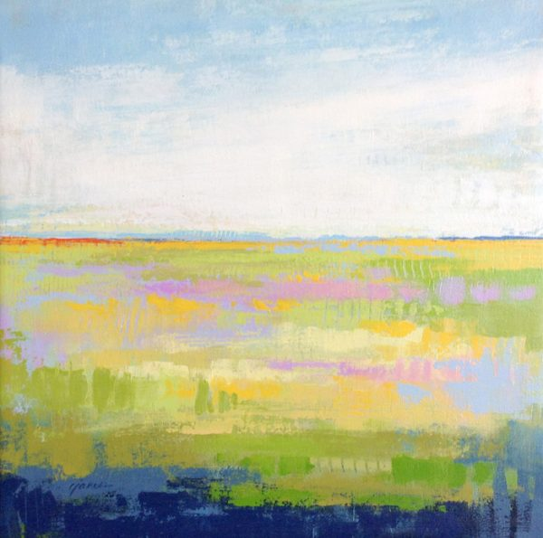 Carlyn Janus Contemporary Spring Landscape Horizon in Green Blue Yellow