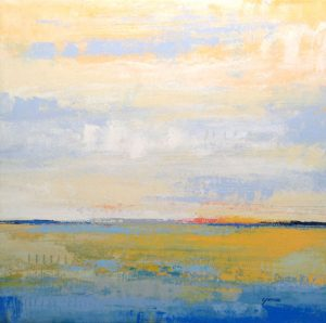 Carlyn Janus Contemporary Abstract Landscape Horizon Seascape Blue Mustard Yellow Pink Peach
