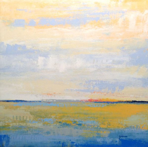 Carlyn Janus Contemporary Abstract Landscape Horizon Seascape Blue Mustard Yellow Pink Peach